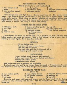 Old Recipes using potatoes. Retro Recipes, Old Recipes, Vintage Recipes, Cookbook Recipes, Cooking Recipes, Recipies, Potato Dishes, Potato Recipes, Chicken Recipes