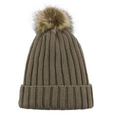 Yoins Beanie Hat with Artificial Fur Pom ($8.08) ❤ liked on Polyvore featuring accessories, hats, khaki, pom pom beanie, beanie cap, cable knit hat, cable knit beanie and snap hat