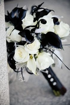 white and black wedding bouquet