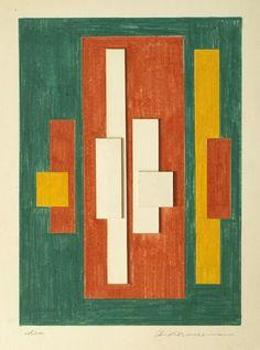 Burton Wasserman - c1960s Idea colour pencil & board construction 33 x 24 cm