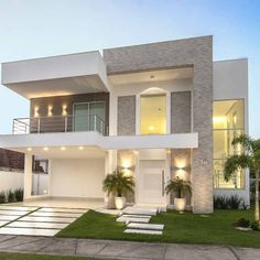 Top 10 Modern house designs – Modern Home House Front Design, Duplex House Design, Dream Home Design, Modern House Design, Facade Design, Exterior Design, Dream House Exterior, House Elevation, Building Elevation