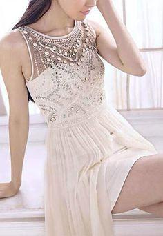Bridesmaid Sequin Beaded White Maxi Evening Dress