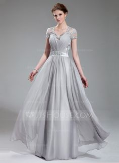 A-Line/Princess V-neck Floor-Length Chiffon Charmeuse Evening Dress With Ruffle Lace Beading (017019722)