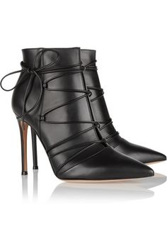 Gianvito Rossi - Lace-up leather ankle boots Lace Up Ankle Boots, Leather Ankle Boots, Ankle Booties, Bootie Boots, Shoe Boots, Shoes Heels, Black Leather, Black Booties, Cute Shoes