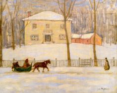 MONTREAL CANADA WINTER SCENE HORSEDRAWN SLEIGH PAINTING ART REAL CANVAS PRINT #Realism