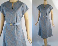 Vintage 1970s Shift Dress Blue Plaid Sleeveless Knit Traveler by Connie Vtg Sz 16 B40 W42