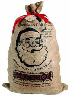Personalised Christmas sack jolly Santa design xmas stocking by Sugarushuk -- Read more  at the image link.