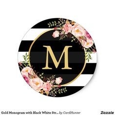 Shop Gold Monogram with Black White Striped Floral Deco Classic Round Sticker created by CardHunter. Black Gold Decor, Black White Gold, Pink White, Monogram Stickers, Name Wallpaper, Alphabet Wallpaper, Baby Shower Flowers, Bottle Cap Images, Monogram Wedding