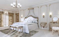 Download wallpapers luxurious bedroom interior, classic style, white bedroom, luxurious classic furniture, interior design