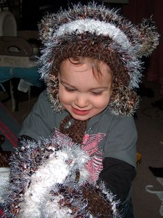 """I crocheted another silly hat for my son plus a pair of matching """"kitten mittens"""""""