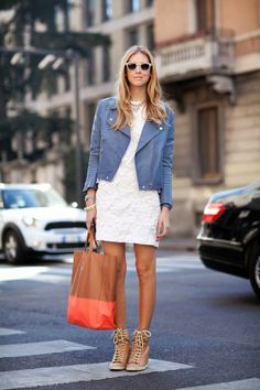 White cute mini dress with royal blue jacket and brown & red stripe leather hand bag and brown warm shoes