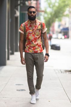 Printed Shirt With Khakis