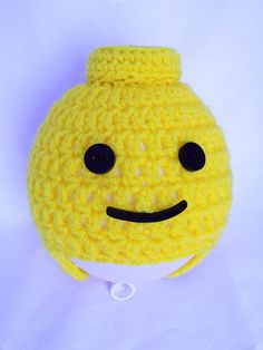 Crochet Legoman beanie, featuring Perspex eyes and mouth, made with my laser cutter {Available in any size and shipped to anywhere} Legoman Crayons, Lego, Crochet Hats, Beanie, Knitting, Ideas, Fashion, Knitting Hats, Moda