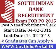 SOUTH INDIAN BANK RECRUITMENT 2015