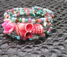 Check out this item in my Etsy shop https://www.etsy.com/listing/533206439/day-of-the-dead-bracelet-wrap-around