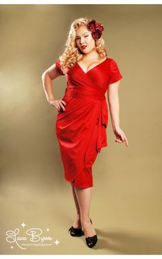 The perfect little #red #dress for Valentines day! This pinup number has no problem showing off your sexy curves. Make them all speechless with the satin, faux wrap Ava dress. You'll love the plunging neckline and flattering cut!