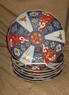 6 Antique Japanese Imari Porcelain Plates 18th - 19th Century