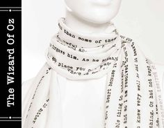 The Wizard Of Oz book on the scarf -Text Scarf - Book - Scarf - Ivory - L. Frank Baum - Oz - Gift $38.98