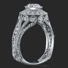 Antique Engagement Ring Setting With Ring Sizer 16 Antique Style Engagement Rings, Split Shank Engagement Rings, Designer Engagement Rings, Halo Engagement, Diamond Engagement Rings, Diamond Solitaire Rings, Bridal Jewelry Sets, Ring Designs, Wedding Rings
