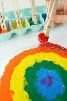 Paper Plate Rainbow Craft for Kids Spring is the perfect time to make some rainbow art. This pom pom painted rainbow craft for kids can be used as a project for St. Patrick's Day or just a fun spring craft idea. Spring Activities, Craft Activities For Kids, Preschool Crafts, Fun Crafts, Arts And Crafts, Craft Ideas, Rainbow Crafts, Rainbow Art, Kids Rainbow