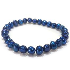 Blue Snowflake Stretch Bracelet #PearlsThatGoWith #HonoraPearls #BlueandPurple #FindYourLuster