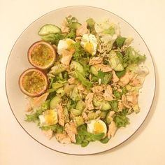Totally destroyed this!  A sexy salad made up of salmon avocado cucumber egg sunflower seeds and passion fruit with black pepper & basil infused olive oil. Perfection!
