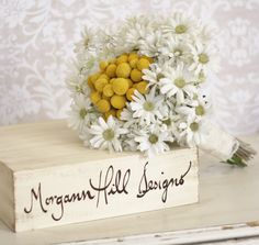Rustic Silk Bride Bouquet Billy Buttons and Daisies