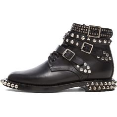 Saint Laurent Rangers Double Studded Leather Low Combat Boots (3,385 SAR) ❤ liked on Polyvore featuring shoes, boots, ankle booties, ankle boots, footwear, short boots, lace up booties, low heel booties, combat boots and studded booties
