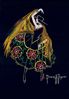 George Glazer Gallery, New York City. Gertrude Johnson's fashion and costume designs, quarter of century, gouache on illustration board Spanish Ladies, Spanish Woman, Big Dresses, Costume Design, Oeuvre D'art, Les Oeuvres, Fashion Art, Poster, Costumes