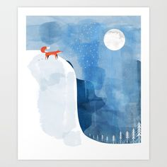 Buy Fox In Nowhere Land Art Print by elenor. Worldwide shipping available at Society6.com. Just one of millions of high quality products available.