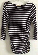 Michael Kors Striped Shirt Gold Logo Zipper Black White Bateau Neck 3/4 Sleeve S