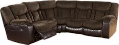 Ashley Tafton Java Dual Reclining Loveseat Sectional - With the rich brown tones of the soft upholstery fabric and the faux leather upholstery beautifully blending together, the Tafton-Java upholstery collection features the comfort of chaise pad seating along with plush padded arms and divided backs to create the ultimate in comfort and style for your living area.