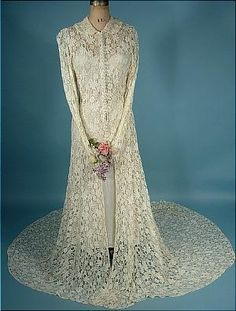 c. 1930's White Trained Lace Wedding Coat!  Comes with Simple White Slip!