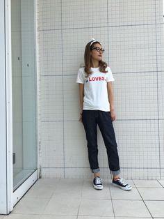 <CUT SEW> S/SL 19/1 RUFFI JERSEY(she LOVES me) / OFF WHITE / ¥6.800+Tax. 品番:TCS-S16SP70   <PANTS> RIGIT HIGI WEIST 5P DENIM PANTS / DENIM / ¥21,000+Tax. 品番:TPT-S1614