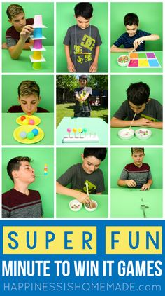 Fun All-Occasion Minute to Win It Games for Kids, Adults, Groups, Birthday Parti… - Kinderspiele Gym Games For Kids, Kids Party Games, Adult Games, Fun Games, Fun Activities, Minute To Win It Games For Kids, Birthday Games For Kids, Games For Groups, Games For Children