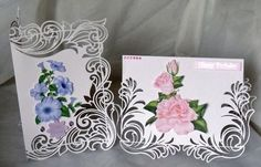 Flourish Elegance card print Cut set CraftROBO Cameo on Craftsuprint - Add To Basket! Pretty Cards, Cute Cards, Tattered Lace Cards, Card Making Designs, 3d Christmas, Making Greeting Cards, Paper Cards, Flower Cards, Print And Cut