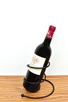 Wine Racks - Superiore Livello Milano Metal Single Bottle Countertop Wine Holder Free Standing Rack for Table Top Modern Scroll Art Statue Design Perfect for Gifts -- Click on the image for additional details.