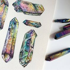 Rainbow Quartz drawings by Emma Black. Her drawing style speaks to me. ///// #whyiloveminerals www.emma-black.comwww.mineraliety.com