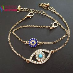 hot sale fashion designed shinning rhinestone evil eye charm bracelet sets for women couro pulseiras de couro