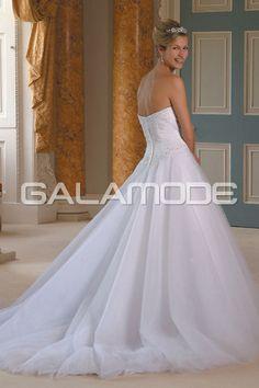#Robe de #Mariée Romantique Longueur Au Sol Sans Bretelles Strass