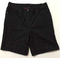 Truly WOW Women's Black Denim Shorts With Elastic Waist Panel Size 12 NWT #Shorts #Bonanza