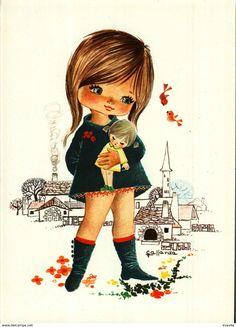 Escenas & Paisajes - Carte Postale - Illustration Gallarda - Petite Fille Poupée, Village