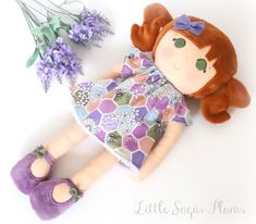 This little girl loves playing in the garden and smelling the flowers.She has peach skin tone and 'rust' plush hair in high pigtails which is super soft and strokable! She has a pret. High Pigtails, Dress Up Dolls, Dolls For Sale, Organza Bags, Pretty Face, Bag Making, Wool Felt, Her Hair, Little Girls