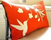 Orange Hummingbird with Eucalyptus Rectangle Pillow by joom Window Seat Kitchen, Bird Pillow, Orange Bird, Orange House, Hummingbird, Sale Items, Color Pop, Colour, Home Accessories