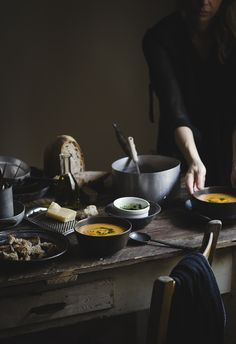 Pumpkin, potato and cannellini beans soup
