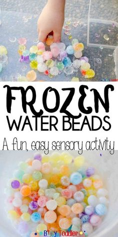 Frozen Water Beads – Busy Toddler Frozen Water Beads: Freeze water beads to create an awesome toddler activity; an easy activity for preschoolers and school aged children; a cold sensory activity School Age Activities, Summer Activities For Kids, Infant Activities, Craft Activities, Crafts For Kids, School Age Crafts, Frozen Activities, Indoor Activities, Childcare Activities