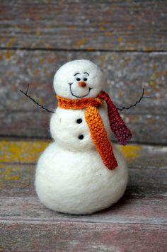 Snowman Wool Needle Felted Snowmen winter by BearCreekDesign