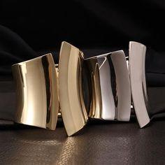 莱卡尼饰品批发网-白金色几何造型金属嘻哈风格手镯 Z013-A-批发户-PFHOO