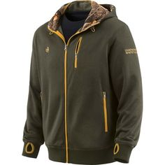 Men's Big Game Camo Double Time Performance Hoodie - Olive with Mustard Yellow accenting. #LegendaryWhitetails www.deergear.com