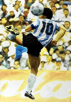 Diego Armando Maradona Argentina Mundial Mexico 1986 World Cup - Artwork by artist Andrea Del Pesco Oil painting on canvas, size cm. 70x100